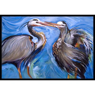 Heron Love Doormat Rug Size: Rectangle 2' x 3'