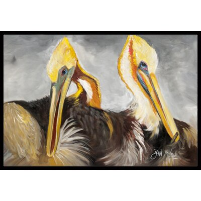 Pelicans Preening Doormat Rug Size: Rectangle 16 x 2 3