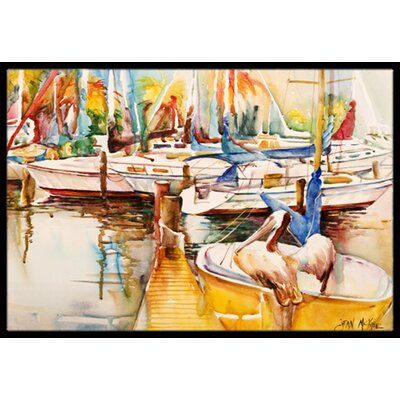 Sailboat with Pelican Golden Days Doormat Rug Size: 16 x 2 3