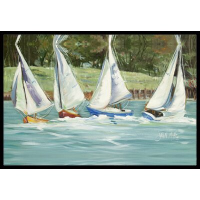 Sailboats on the Bay Doormat Mat Size: Rectangle 16 x 2 3