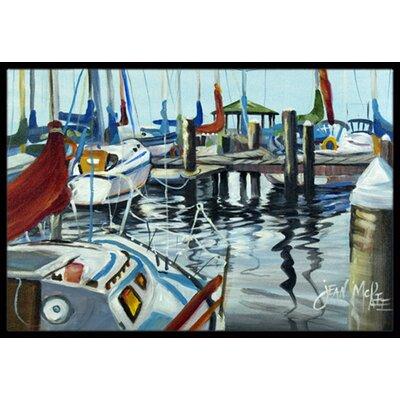 Orange Sail Sailboats Doormat Mat Size: Rectangle 16 x 2 3