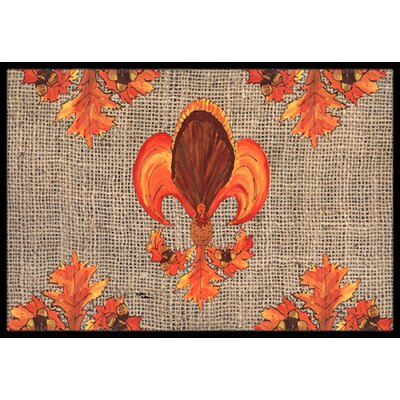 Thanksgiving Turkey Fleur De Lis Doormat Mat Size: Rectangle 2 x 3