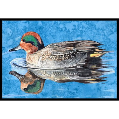 Teal Duck Doormat Mat Size: Rectangle 16 x 2 3