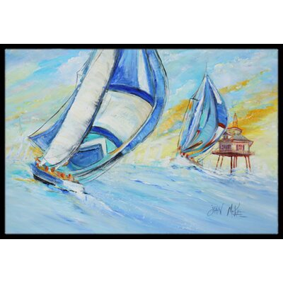 Sailboats and Middle Bay Lighthouse Doormat Mat Size: Rectangle 2 x 3