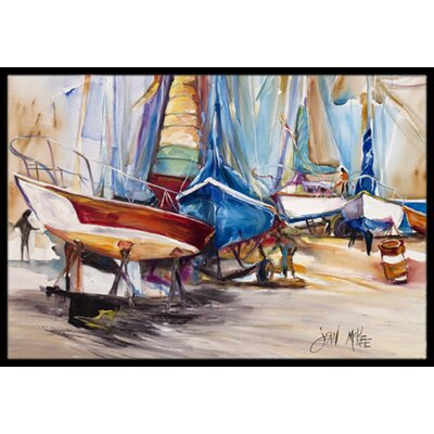 On the Hill Sailboats Doormat Rug Size: 2 x 3