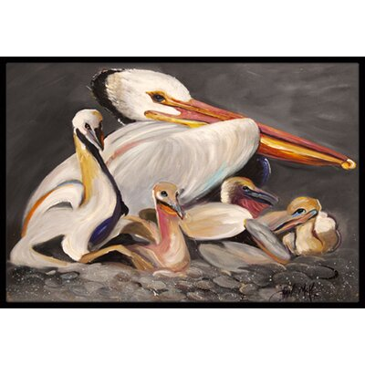 White Pelicans Doormat Mat Size: Rectangle 16 x 2 3