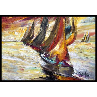 Sails Sailboat Doormat Rug Size: 2 x 3