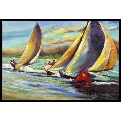 Knots Regatta Pass Christian Sailboats Doormat Rug Size: 2 x 3