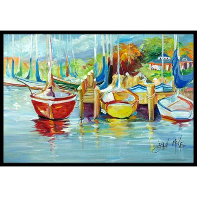 On the Dock Sailboats Doormat Mat Size: Rectangle 16 x 2 3