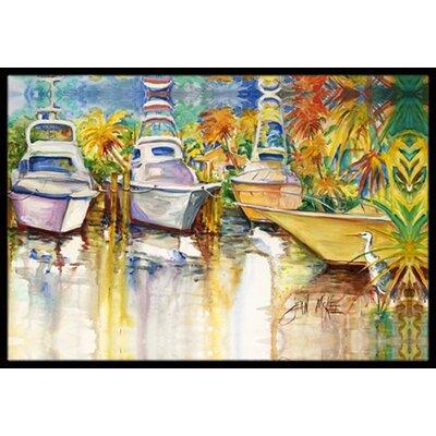 Heron and Deep Sea Fishing Boats Doormat Rug Size: 16 x 2 3