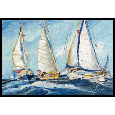 Roll Me over Sailboats Doormat Rug Size: 2 x 3