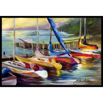 Sailboats At Sunset Doormat Rug Size: Rectangle 16 x 2 3