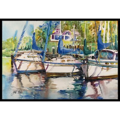 Safe Harbour Sailboats Doormat Rug Size: 16 x 2 3