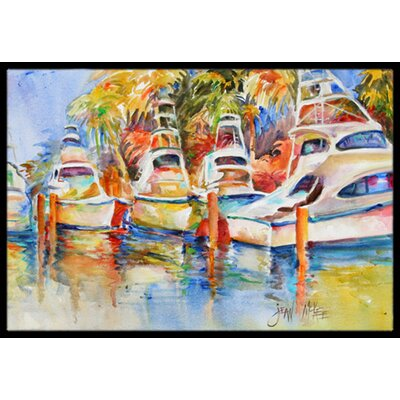 Fishing Boats At The Dock Doormat Mat Size: Rectangle 16 x 2 3