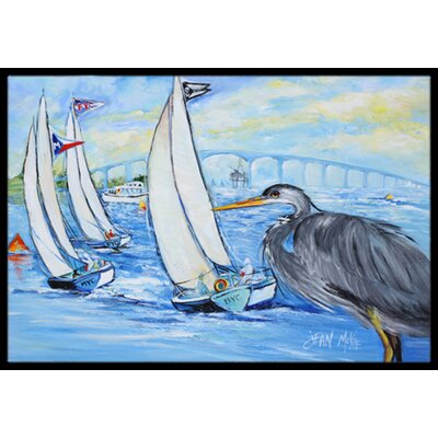Heron Sailboats Dog River Bridge Doormat Rug Size: 16 x 2 3