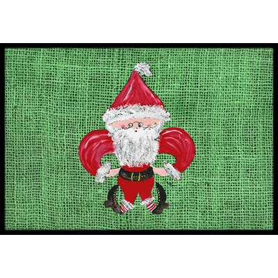 Christmas Santa Fleur De Lis Doormat Mat Size: Rectangle 16 x 2 3