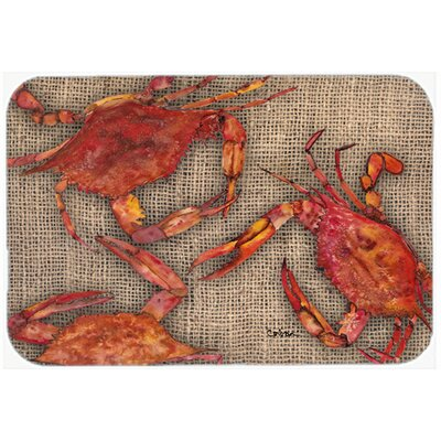 Cooked Crabs on Faux Burlap Kitchen/Bath Mat Size: 24 H x 36 W x 0.25 D