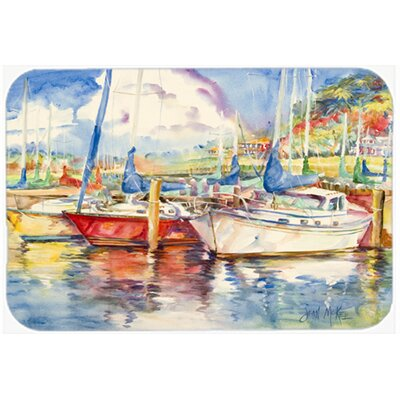 Three Boats Sailboats Kitchen/Bath Mat Size: 24 H x 36 W x 0.25 D