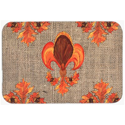 Thanksgiving Turkey Fleur De Lis Kitchen/Bath Mat Size: 20 H x 30 W x 0.25 D