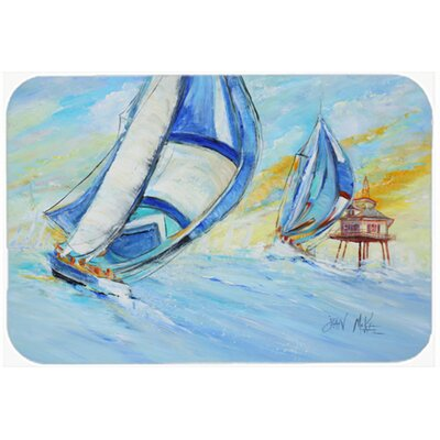 Sailboats and Middle Bay Lighthouse Kitchen/Bath Mat Size: 20 H x 30 W x 0.25 D
