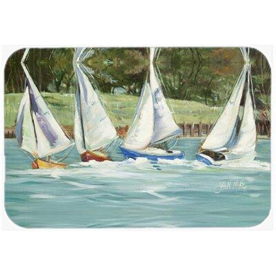 Sailboats on The Bay Kitchen/Bath Mat Size: 24 H x 36 W x 0.25 D