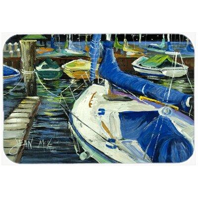 Night on The Docks Sailboat Kitchen/Bath Mat Size: 24 H x 36 W x 0.25 D