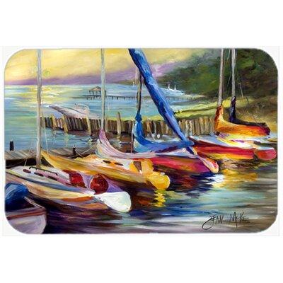 Sailboats At Sunset Kitchen/Bath Mat Size: 20 H x 30 W x 0.25 D
