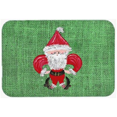 Christmas Santa Fleur De Lis Kitchen/Bath Mat Size: 24 H x 36 W x 0.25 D