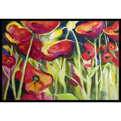 Poppies Doormat Mat Size: Rectangle 2 x 3