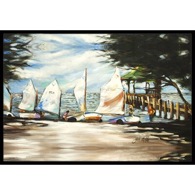 Sailing Lessons Sailboats Doormat Rug Size: Rectangle 16 x 2 3