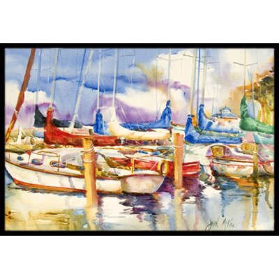 Run Away Sailboats Doormat Mat Size: Rectangle 16 x 2 3