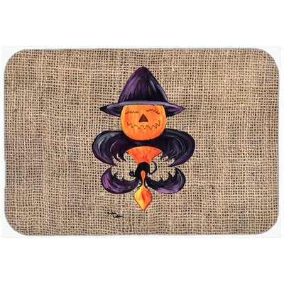 Halloween Pumpkin Bat Fleur De Lis Kitchen/Bath Mat Size: 24 H x 36 W x 0.25 D
