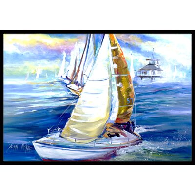Rock My Boat Sailboats Doormat Mat Size: Rectangle 2 x 3
