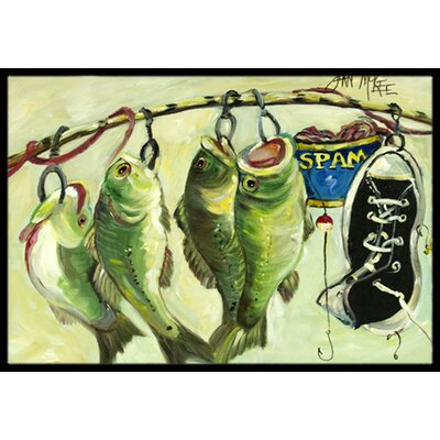 Recession Food Fish Caught with Spam Doormat Rug Size: 16 x 2 3