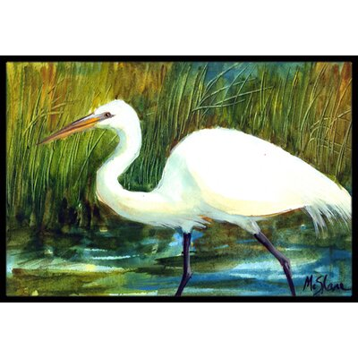 Egret Bird Doormat Rug Size: Rectangle 16 x 2 3