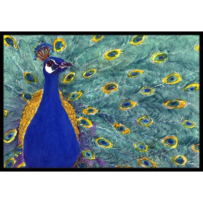 Peacock Bird Doormat Rug Size: 16 x 2 3