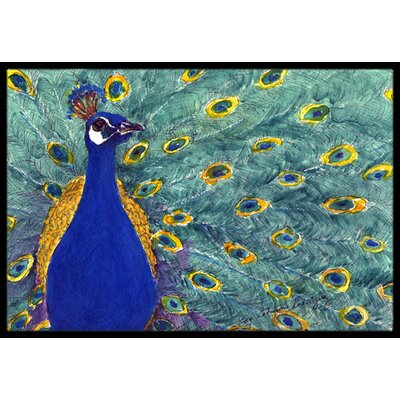 Peacock Bird Doormat Rug Size: 2 x 3