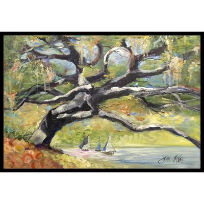 Oak Tree on the Bay with Sailboats Doormat Rug Size: Rectangle 2 x 3