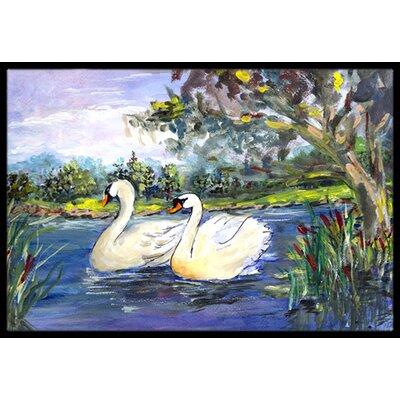 Swan Bird Doormat Rug Size: 2 x 3