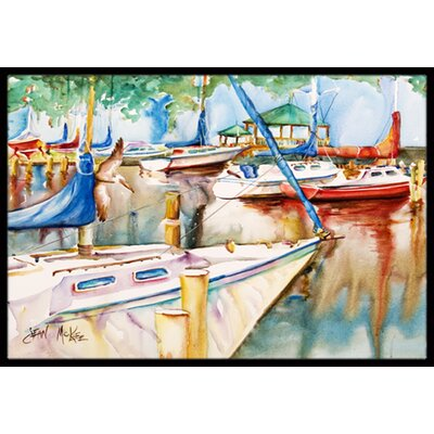 Sailboats at the Gazebo Doormat Rug Size: Rectangle 16 x 2 3