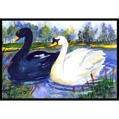Swan Bird Doormat Rug Size: Rectangle 2 x 3