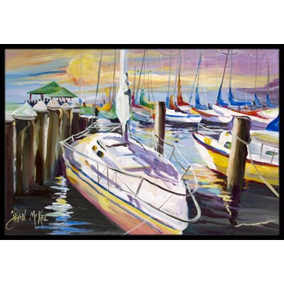 Sailboats at the Fairhope Yacht Club Docks Doormat Rug Size: 16 x 2 3