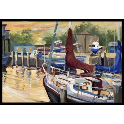 New Sunset Bay Sailboat Doormat Mat Size: Rectangle 16 x 2 3