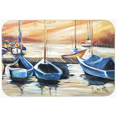 Beach View with Sailboats Kitchen/Bath Mat Size: 24 H x 36 W x 0.25 D