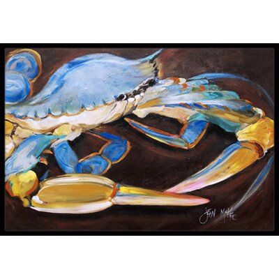 Crab on Dark Brown Background Doormat Mat Size: Rectangle 2 x 3