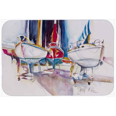 Sailboats In Dry Dock Kitchen/Bath Mat Size: 24 H x 36 W x 0.25 D