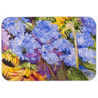 Hydrangeas and Sunflowers Kitchen/Bath Mat Size: 24 H x 36 W x 0.25 D