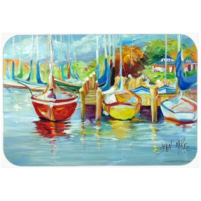 On The Dock Sailboats Kitchen/Bath Mat Size: 20 H x 30 W x 0.25 D
