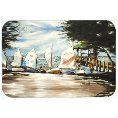 Sailing Lessons Sailboats Kitchen/Bath Mat Size: 24 H x 36 W x 0.25 D