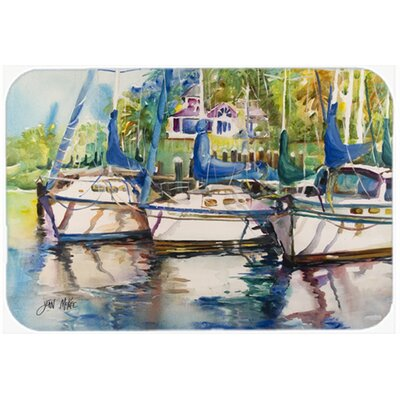 Safe Harbour Sailboats Kitchen/Bath Mat Size: 20 H x 30 W x 0.25 D